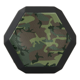 カムフラージュの迷彩柄の緑のブラウンパターン ブラックBluetoothスピーカー