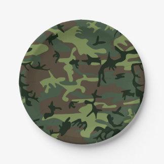 カムフラージュの迷彩柄の緑のブラウンパターン ペーパープレート