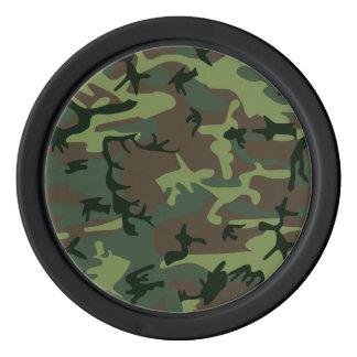 カムフラージュの迷彩柄の緑のブラウンパターン ポーカーチップ