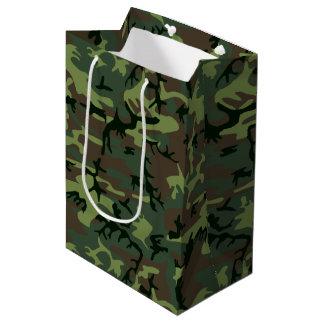 カムフラージュの迷彩柄の緑のブラウンパターン ミディアムペーパーバッグ