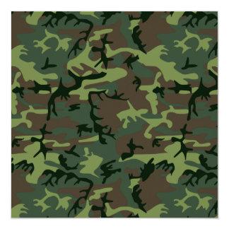 カムフラージュの迷彩柄の緑のブラウンパターン 13.3 スクエアインビテーションカード