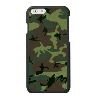 カムフラージュの迷彩柄の緑のブラウンパターン iPhone 6/6Sウォレットケース
