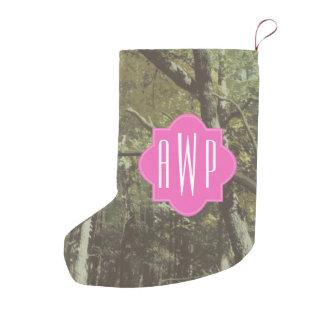 カムフラージュ + ピンクのモノグラム スモールクリスマスストッキング