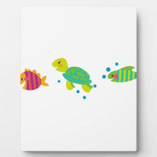 カメおよび魚のボーダー フォトプラーク