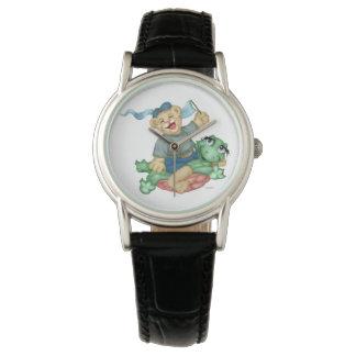 カメくまの漫画のクラシックで黒い革 腕時計