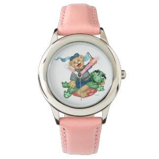 カメくまの漫画のステンレス鋼のピンク 腕時計