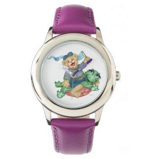 カメくまの漫画のステンレス鋼の紫色 腕時計