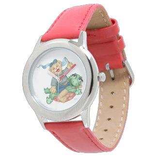 カメくまの漫画のステンレス鋼の赤 腕時計