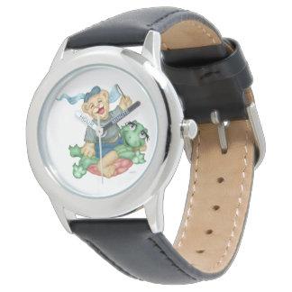 カメくまの漫画のステンレス鋼の黒 腕時計