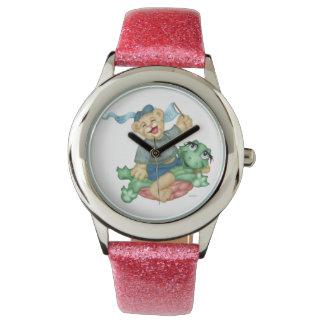 カメくまの漫画のピンクのグリッター 腕時計