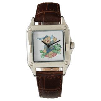 カメくまの漫画の完全な正方形のブラウンの革 腕時計