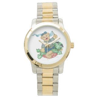 カメくまの漫画の特大ツートーンブレスレット 腕時計