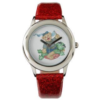 カメくまの漫画の赤いグリッター 腕時計