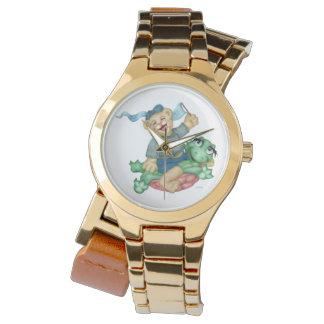 カメくまの漫画の金ゴールドの覆い 腕時計