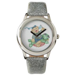 カメくまの漫画の銀のグリッター 腕時計