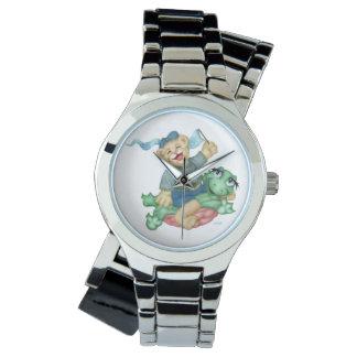 カメくまの漫画の銀の覆い 腕時計