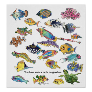 カメの想像の漫画の魚の芸術 ポスター