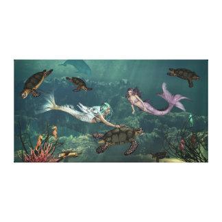 カメの春の人魚 キャンバスプリント