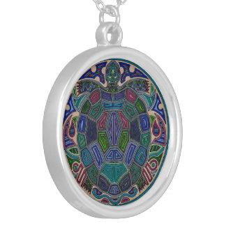 カメの曼荼羅のネックレス シルバープレートネックレス