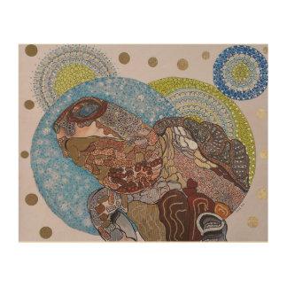 カメの曼荼羅の喜び ウッドウォールアート