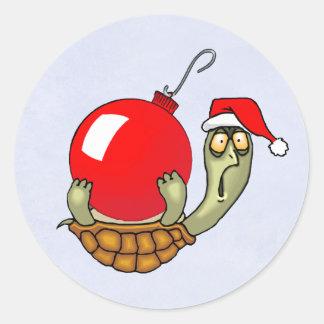 カメの球のクリスマス ラウンドシール