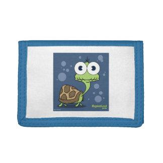 カメの青い三重ナイロン財布