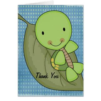 カメの青い水玉模様のベビーシャワーは感謝していしています カード