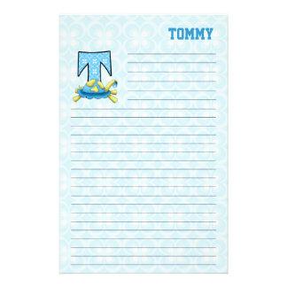 """カメのMongram青い""""T""""の並べられた文房具 便箋"""
