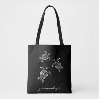 カメのTatoo白黒動物 トートバッグ