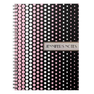 カメオのピンクおよび白い水玉模様 ノートブック