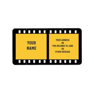 カメラのフィルムのストリップの黄色の名前のギフトのラベルの蔵書票 ラベル
