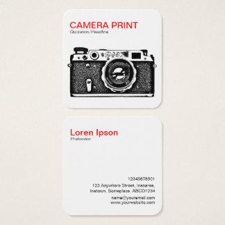 カメラのプリント-赤 + 白の黒 スクエア名刺