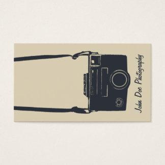 カメラのベージュ及び青のスタイリッシュなレトロの写真のフィルム 名刺