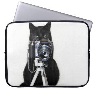 カメラのラップトップスリーブを持つ猫 ラップトップスリーブ