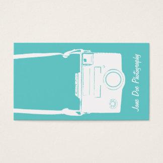 カメラの写真撮影のティール(緑がかった色)の青いヴィンテージの白のフィルム 名刺