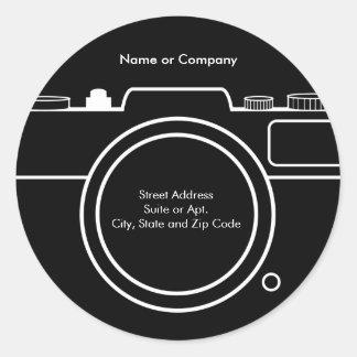 カメラの差出人住所ラベル-黒及び白 ラウンドシール