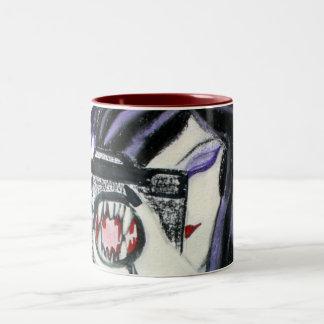カメラの茶コーヒー・マグを持つすみれ色の吸血鬼 ツートーンマグカップ