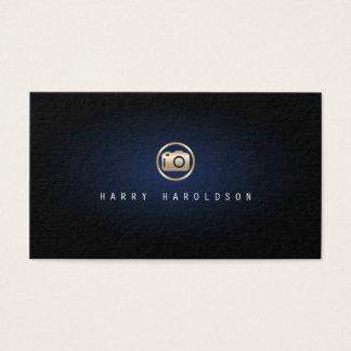 カメラマンのエレガントな金ゴールドのカメラアイコン青い白熱 名刺