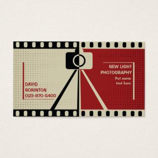 カメラマンのカメラの写真撮影の黒、ベージュ赤 名刺