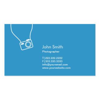カメラマンのシンプルなカメラの青の写真撮影 スタンダード名刺