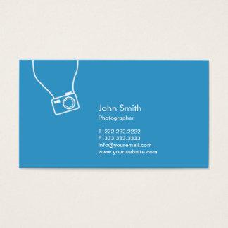 カメラマンのシンプルなカメラの青の写真撮影 名刺