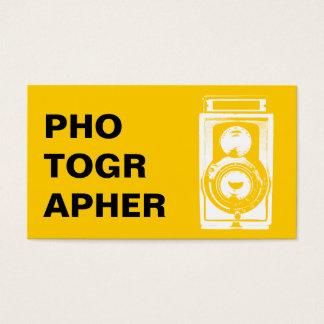 カメラマンのタイポグラフィのヴィンテージのカメラの写真撮影 名刺