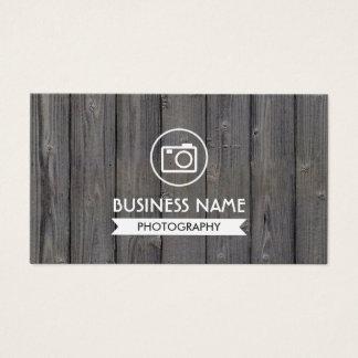 カメラマンの素朴な木製の背景の写真撮影 名刺