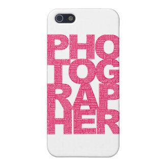カメラマン-ピンクの文字 iPhone SE/5/5sケース