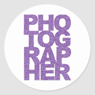 カメラマン-紫色の文字 ラウンドシール