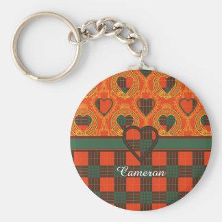 カメロンの一族の格子縞のスコットランド人のタータンチェック ベーシック丸型缶キーホルダー