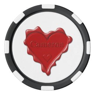 カメロン。 一流のカメロンが付いている赤いハートのワックスのシール ポーカーチップ