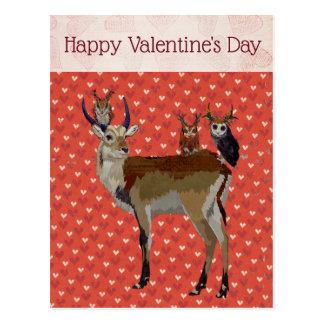 カモシカ及び枝角のフクロウのバレンタインの郵便はがき ポストカード