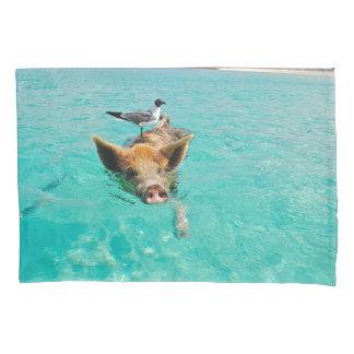 カモメの標準的な枕箱とのブタの水泳 枕カバー