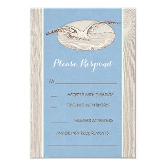 カモメの航海のなビーチ結婚式RSVPカード カード